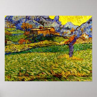 Poster Van Gogh - pré dans les montagnes
