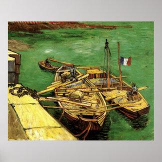 Poster Van Gogh Quay avec les hommes déchargeant des