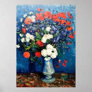 Poster Van Gogh - vase avec des bleuets et des pavots