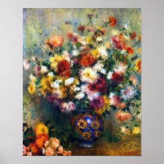 Poster Vase de beaux-arts de chrysanthèmes par Renoir