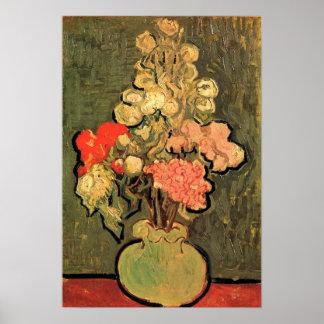 Poster Vase toujours à la vie avec les mauves roses par