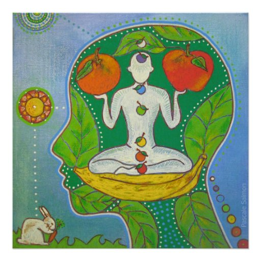 Poster Vegan Yoga fruits
