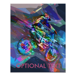 Poster Vélo de saleté coloré par crayon superbe incliné