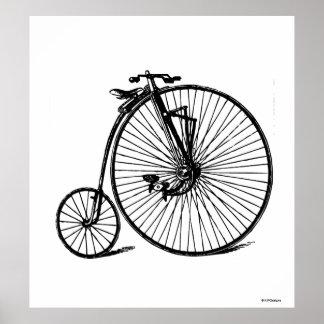Poster Vélo vintage de bicyclette de vélo sur rail de