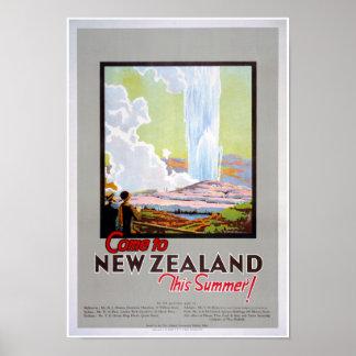 Poster Venez à l'affiche vintage de voyage de la Nouvelle