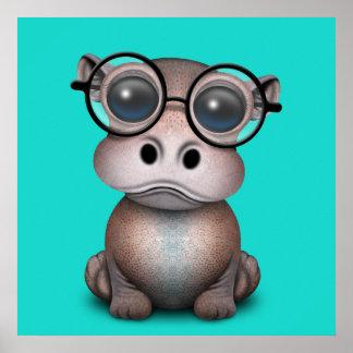 Poster Verres de port d'hippopotame ringard mignon de