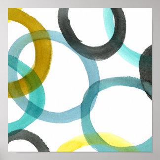Poster Verrouillage des cercles jaunes et bleus