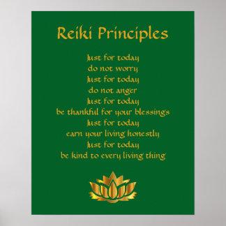 Poster Vert et or Lotus de principes de Reiki