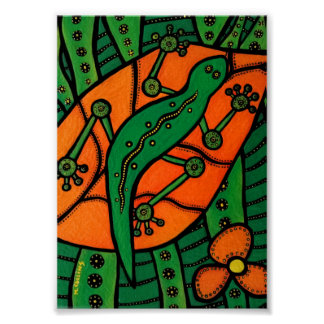 Poster Vert et orange de Gecko