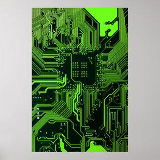 Poster Vert frais d'ordinateur de bord de circuit