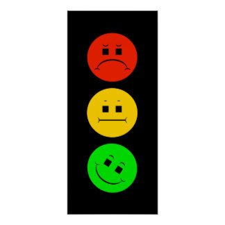 Poster Vert incliné par feu d'arrêt déprimé