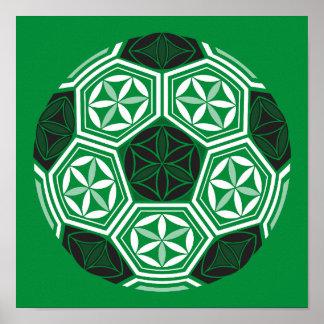 Poster vert sacré de la géométrie du football