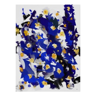 Poster vertical, grand modèle, « Blue Flowers »