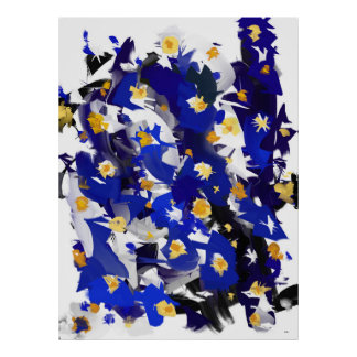 "Poster vertical, grand modèle, ""Blue Flowers"" Posters"