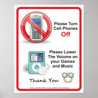 Poster Veuillez arrêter le signe de bureau de téléphones