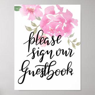 Poster Veuillez signer notre mariage floral de manuscrit