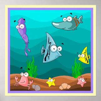 Poster Vie marine sous la bande dessinée mignonne de mer