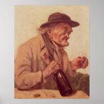 Poster Vieil homme avec un verre de vin
