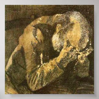 Poster Vieil homme de Van Gogh avec la tête dans des