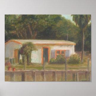 Poster VIEILLE affiche de CAMP de POISSONS de la FLORIDE