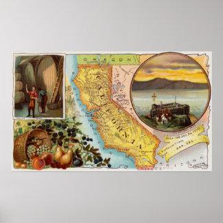 Poster Vieille carte de la Californie avec les
