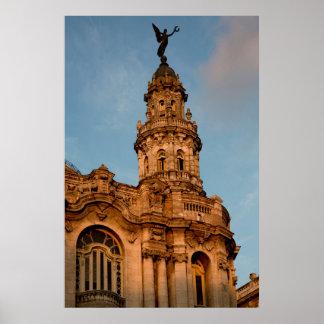 Poster Vieille flèche de bâtiment, La Havane, Cuba