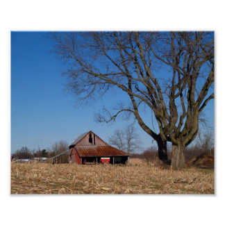 Poster Vieille grange dans la copie de toile de