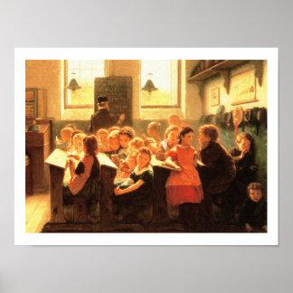 Poster Vieille peinture de scène de salle de classe par