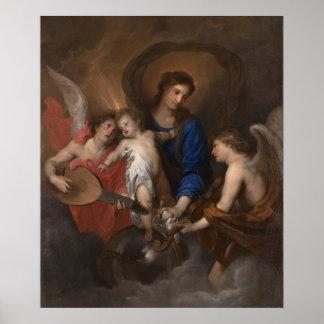 Poster Vierge et enfant avec la musique faisant des anges