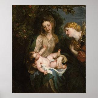 Poster Vierge et enfant avec le saint Catherine de
