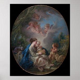 Poster Vierge et enfant avec le St John le baptiste
