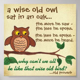 Poster Vieux hibou sage - proverbe - mini affiche