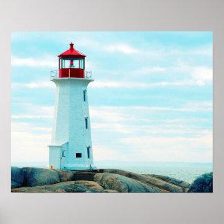 Poster Vieux phare, océan bleu, maritime, nautique