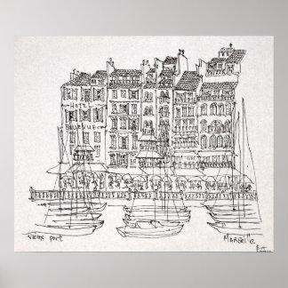 Poster Vieux-Port   Marseille, France de bateaux