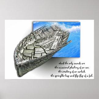 Poster vieux souvenirs de bateau dans 3D avec l'affiche