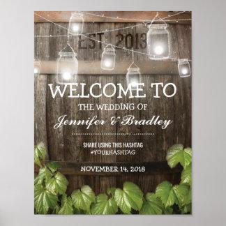 Poster Vigne rustique de baril de pays épousant | Hashtag