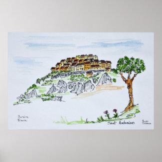 Poster Village de Sant'Antonino | Corse, France