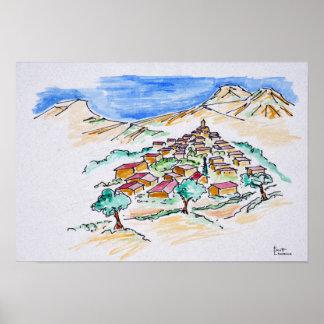 Poster Village en Provence, France