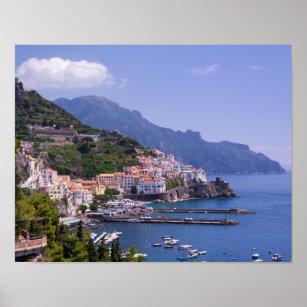 Poster Ville d'affiche de l'Italie de côte d'Amalfi