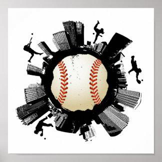 Poster Ville de base-ball
