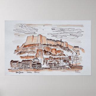 Poster Ville de Bonifacio | Corse, France