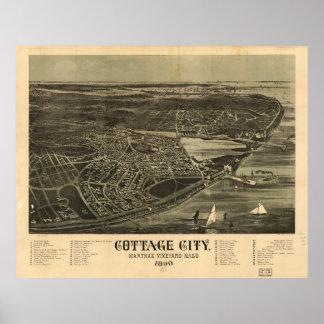 Poster Ville de cottage (bluffs de chêne) le