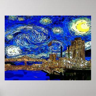 Poster Ville de croissant de nuit étoilée