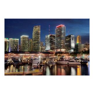 Poster Ville d'horizon de Miami en Floride