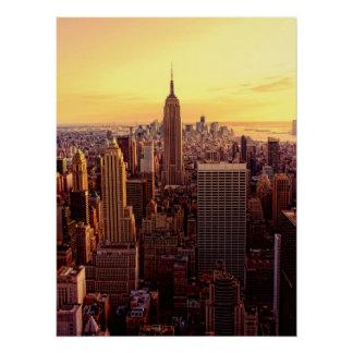 Poster Ville d'horizon de New York avec l'état d'empire