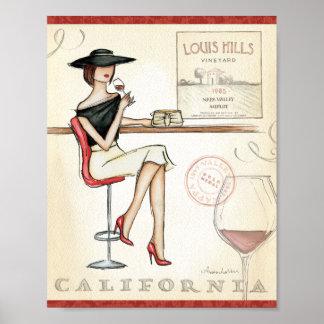 Poster Vin potable de femme à la mode