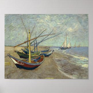 Poster Vincent van Gogh - bateaux de pêche sur la plage