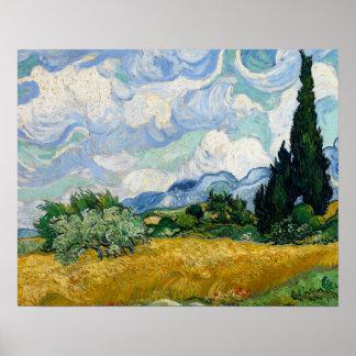 Poster Vincent van Gogh - champ de blé avec des cyprès