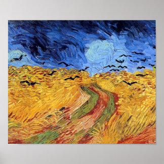 Poster Vincent van Gogh - champ de blé avec les
