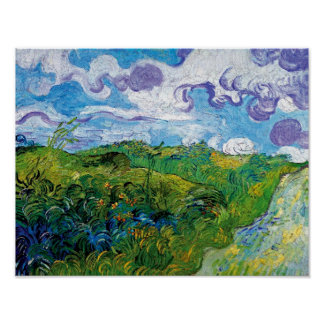 Poster Vincent van Gogh - champs de blé verts dans Auvers